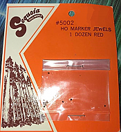 Sequoia Scale Models 5002 HO Scale - Marker Jewels - 1 Dozen Red