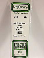 Evergreen Scale Models 244 - Opaque White Polystyrene Half Round .125In x 14In (3 pcs pkg)