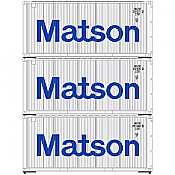 Athearn 28854 HO RTR 20Ft Corrugated Container Matson 3 Pack