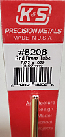 K&S Engineering 8206 All Scale - 5/32 inch OD Round Brass Tube - 0.029inch Thick x 12inch Long
