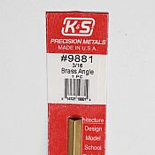 K&S Engineering 9881 All Scale - 12inch Long Brass Angle - 0.014inch Thick x 3/16 inch Leg Length