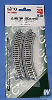 Kato Unitrack N Scale Unitrack Roadbed Track 20-174-- 6 inch -  15cm 45-Degree Curve pkg(4)