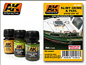 AK Interactive 63 Slimy Grime & Fuel Stains Enamel Paint Set (25, 26, 27)