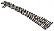 Peco Code 83 SL E 8376 HO Streamline #7 Electrofrog Turnout - Nickel Silver Right Hand Curved Track