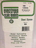Evergreen Scale Models 2080 .080in Opaque White Polystyrene V Groove Siding (1Sheet)