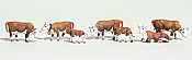 Woodland Scenics 1843 HO Scenic Accents Animal Figures Hereford Cows - pkg of 6