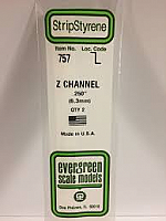 Evergreen Scale Models 757 - Opaque White Polystyrene Z Channel .250In x 14In (2 pcs pkg)