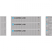 Athearn 27159 - HO 40ft Low-Cube Container - Maersk (3/pkg)
