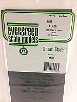 Evergreen Scale Models 9516 - Plain Opaque Black Polystyrene Sheet .060In x 6In x 12In (1 pc pkg)