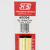 K&S Engineering 5094 All Scale - Small Brass Oval Tubes - 0.014 Thick x 12 inch Long (2 pkg)