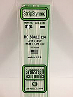 Evergreen Scale Models 8104 - Opaque White Polystyrene HO Scale Strips (1x4) .011In x .043In x 14In (10 pcs pkg)