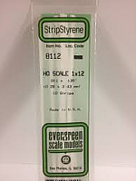 Evergreen Scale Models 8112 - Opaque White Polystyrene HO Scale Strips (1x12) .011In x .135In x 14In (10 pcs pkg)