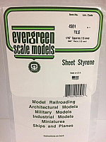 Evergreen Scale Models 4501 - 1/16in x 1/16in Opaque White Polystyrene Square Tile (1sheet)
