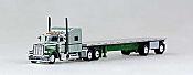 Tucks N Stuff 18TNS003 HO Peterbilt Sleeper With Flatbed Metallic Green with Dark Green Trailer