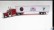 Trucks n Stuff TNS040 HO Peterbilt 389 Sleeper Cab Tractor with 53ft Dry Van Trailer Assembled Cerri Top Fighter (red tractor; white.black,red trailer)