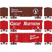 Athearn 73705 HO - RTR 40Ft Youngstown Door Box - Great Northern/Circus #1 (3pkg)