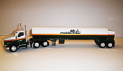 Trucks n Stuff TNS054 - HO Kenworth T680 Day-Cab Tractor with Cryogenic Tank Trailer - Assembled -- Air Products (white, green, yellow)