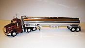 Trucks n Stuff TNS096 HO Peterbilt 579 Day-Cab Tractor with Gas Tank Trailer - Assembled -- Williams Tank Lines (maroon, chrome)