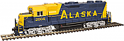 Atlas Model Railroad Co. 10002410 HO Scale EMD GP38 Low Nose w/Sound & DCC - Master(R) Gold -- Alaska (Blue/Yellow) #2004   150-10002410