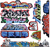 Blair Line 2263 HO Scale - Mega Set Modern Tagger Graffiti Decals - Set #14 pkg(10)