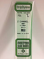 Evergreen Scale Models 751 - Opaque White Polystyrene Z Channel .060In x 14In (4 pcs pkg)