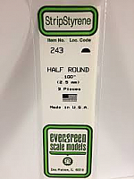 Evergreen Scale Models 243 - Opaque White Polystyrene Half Round .10In x 14In (3 pcs pkg)