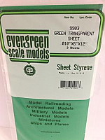 Evergreen Scale Models 9903 - .010in Green Transparent Polystyrene Sheet (2 Sheets)