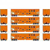 Athearn 14259 HO RTR 40ft OB Ballast Hopper/Load CSX 4pk Set 1