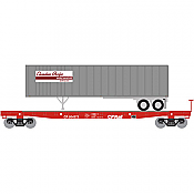 Athearn 24901 N - 53ft Flat w/40ft EP Trlr, CPR #504372