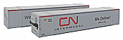 Con-Cor 453102 N Scale 53 Ft Hi-Cube Climate Controlled Container w/Nose Heater 2-Packa - Canadian National Set # 2