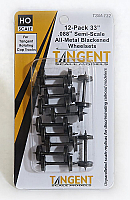 Tangent Scale Models HO 132 33in Semi-Scale Blackened All Metal Precision Wheelsets for Tangent Rotating Roller Bearing Trucks-12pk