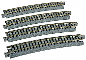 "Kato Unitrack 20-160 N Scale Curved Track 15 Degree, 19"" 481mm Radius R481-15 4 pcs"