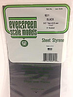 Evergreen Scale Models 9511 - Plain Opaque Black Polystyrene Sheet .010In x 6In x 12In (4 pcs pkg)