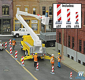 Walthers Scenemaster HO Construction Lane Markers (red/white)