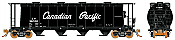 Rapido 127006-4 HO 3800 cu. ft. Canadian Cylindrical Hopper Canadian Pacific (CP) as delivered black w/script lettering - #382589