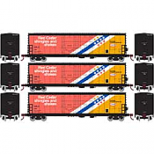 Athearn RTR 67721 - HO 50ft Evans Double-Door Plug Boxcar - USLX Canfor (3pk)