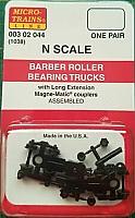 Micro Trains 003 02 080 - N Scale Barber Roller-Bearing Freight Car Trucks - w/ 36inch Wheels (1 Pair)