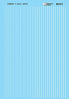 Microscale 91111 HO Scale - Stripes - 1 and 2 inch widths - White - Waterslide Decal