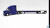 Trucks n Stuff TNS062 HO Kenworth T680 SleeperCab with Flatbed Trailer Assembled System Transport (blue,silver)