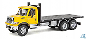 Walthers SceneMaster HO 11653 International (R) 7600 Flatbed Truck Yellow Cab w/ Black bed